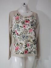 womens sweaters fresh long sleeve large oatmeal color with floral print