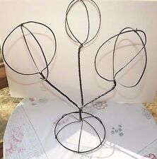 "VINTAGE WIRE HAT/WIG STAND DISPLAY_TWISTED WOVEN METAL DISPLAY 21"" TALL_3 GLOBES"