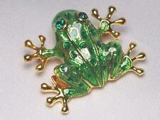 Green Frog Brooch Pin Accented with Emerald Green Crystals