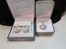 NIB Sterling Silver Swarovski  Circle Pierced Earrings & Pendant Set $250.00