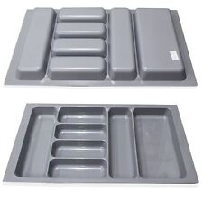"800MM 31.5"" Grey Plastic Cutlery Kitchen Drawers Blum Tandembox Insert Tray Tidy"