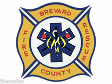 """BREVARD COUNTY FLORIDA FRE DEPARTMENT 4"""" HELMET BUMPER STICKER DECAL MADE IN USA"""