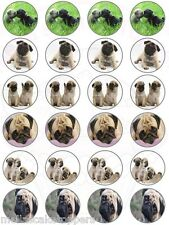 24 x Pug Puppies Mix Cake & Cupcake Toppers Edible Wafer