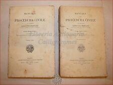 DIRITTO - Mortara, Lodovico: MANUALE PROCEDURA CIVILE 2 voll 1913 UTET Commento