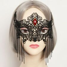 Black GOTHIC Good Quality Lace Red Gem Lady MASQUERADE CARNIVAL PARTY EYE MASK