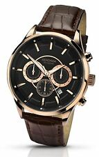 Sekonda Gents Chronograph Black & Rose Gold Tone Watch Brown Strap 1178