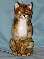 "VINTAGE TONI REYMOND POTTERY TABBY CAT FIGURINE 8"" TALL FLYING DUCK MARK NICE"