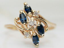 Vintage 14K Gold .25 TCW Sapphire & Diamond Cocktail Ring