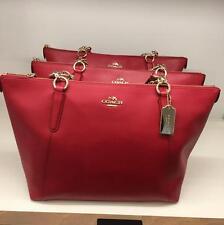 coach Ava In Crossgrain Leather True Red Tote Bag