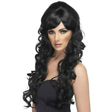 Womens Black Pop Starlet Glam Wig Long Curly Star Fashion Model Fancy Dress Fun