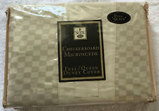 New Suite 109 Checkerboard Micro Suede Full / Queen Duvet Cover - Beige