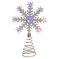 CHRISTMAS COLOUR CHANGING LED SNOWFLAKE TREE TOPPER BATTERY OPERATED DECORATION