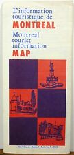 1956 Montreal tourist travel map & informational brochure b