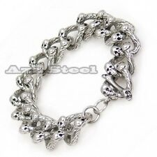316L Men's Heavy Silver Skulls Biker Stainless Steel Chain Bracelet 23cm or 9""