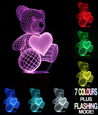 Optical Illusion 3D Lamp Teddy Bear  *Colour Changing 7 Colours*