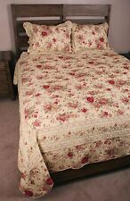 King Quilt Set Shabby Antique Tea Roses Chic Cotton