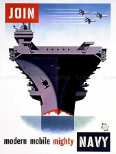 PROPAGANDA WWII WAR ENLIST NAVY AIRCRAFT CARRIER ART POSTER PRINT LV3779