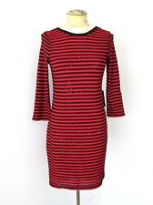 NWT $60 Express Red Black Sequin Stripe Stretchy Knit Bodycon Sexy Club Dress S