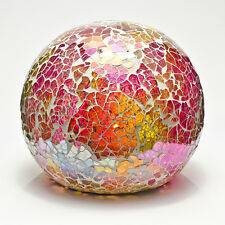 Pink Mosaic Crackle Glass Sphere Ball LED Lamp Flickering Night Light