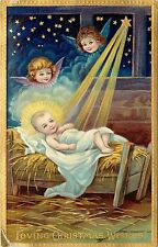 Embossed Chromolithograph Christmas Postcard 1480a; Jesus in Manger, Angels Star