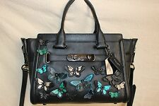 COACH Swagger 21 Carryall Butterfly Appliqué Glovetanned Leather Black MSRP $495