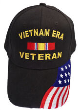 Vietnam Era Veteran Ribbon w/ US Flag Bill Cap 402SF-BLK