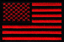 AMERICAN FLAG,RED & BLACK w/BLACK BORDER-USA-BIKER-VET-Iron On Embroidered Patch