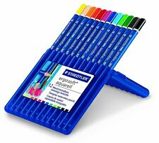 STAEDTLER ERGO SOFT AQUARELL WATER-SOLUBLE COLOURING PENCILS - WALLET of 12