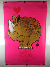 "1972 ""Rhino Love"" Vintage Black Light Poster by Kersten Bros 22X34"