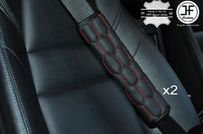 2X HEX RED STITCHING LEATHER LUXURY SHOULDER SEAT BELT PADDED PADS HARNESS