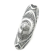 Lady  Vintage Jewelry Carving Ring Bohemian Carved Flower Retro Long Finger Ring