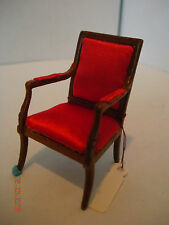 DOLLHOUSE MINI HALF INCH SCALE  RED ARM CHAIR FROM MONTICELLO COLLECTION
