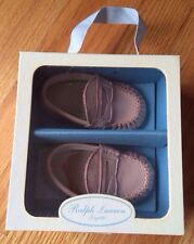 Brand New Ralph Lauren Lambskin Darmouth Leather Pink Infant Baby Crib Shoes.
