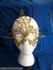 Hand-crafted Metal Mask Oak Leaves Brass Carnival Renaissance Faire Masquerade