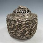 Chinese Silver Bronze Hand-Carved Crane Incense Burner & Lid w Qing Dynasty Mark