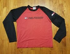 Tommy Hilfiger XXL black red baseball LS SPELL OUT shirt VTG 90s Athletic nylon