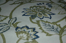 BLUE GREEN FLORAL LEAF UPHOLSTERY FABRIC 5.75 YDS