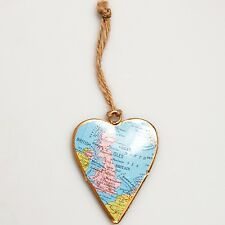 Sass and Bell Vintage UK Map Hanging Heart - Metal hanging decoration