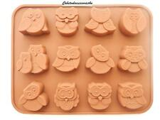 12 Hole Silicone Chocolate Owl Bird Animal Mould Jelly/Ice/Chocolate/Cake
