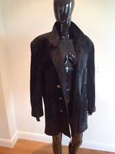 Sylvie Schimmel noir en cuir veste/manteau français 42 uk 14 fab haute couture