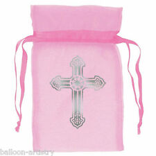 12 Pink Girl's 1st Holy Communion Ornate Cross Party Organza Fabric Favour Bags