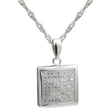 "Sterling Silver Jewelry, White CZ Square Pendant, 17.5"" Extension Chain"