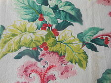 Vintage Berries Foliage & Scrolls 1940's Barkcloth Fabric ~Chartreuse Red  Pink