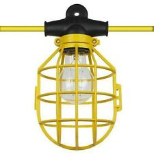 50 ft. Temporary Lighting String Work Light Commercial Heavy Duty w/ Bulb Cages