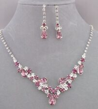 Silver With Purple and Crystal Rhinestone Necklace Set Fashion Jewelry NEW