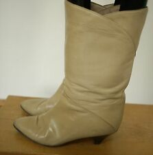Cristiano Made in Italy Beige Leather Overlap Kitten Heel Calf Boots 8.5B 39