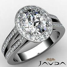 1.94 ct Natural Oval Cut Halo Diamond Engagement 14K White Gold F VS2 GIA Ring