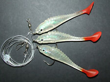 BIG SUPER FISH SHAD RIG LURE 3 x 6/0 HOOK BOAT BASS COD SEA FISHING LINE CLIP