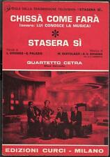 "QUARTETTO CETRA Sigle RAI TV di ""Stasera si"" OST 1971 Spartiti Music Sheet"
