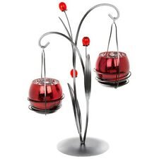 Gorgeous Quality Crimson Glow Flower Branch Hanging Tea Light Candle Holder